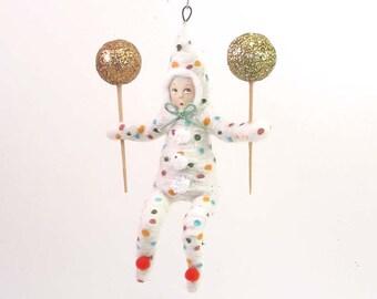 Spun Cotton Vintage Style Clown Child Ornament