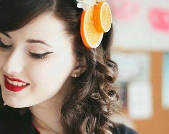Orange Blossom Fascinator, Orange Slices Hair Clip, Fruit Hair Clip, Retro hair