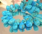 6 Natural Turquoise Smooth Teardrop Briolettes- 7x10-9x14mm- Bastet's Beads