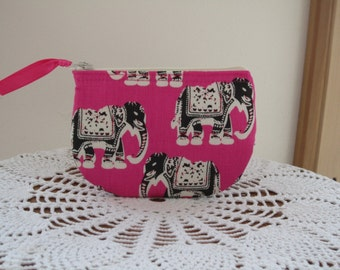 Coin Business Card Clutch Zipper Case   Elephants on Parade in Pink Made in the USA
