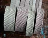 Linen bias tape - woven check linen - width 2 and 3 cm