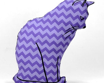 decorative pillow, cat pillow, animal pillow, cat profile shaped large pillow, kitty shaped purple chevron fabric
