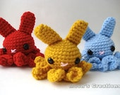 Octo-Bun - Amigurumi Octopus Bunny Rabbit with Keychain or Ornament Options - Choose Your Own Color