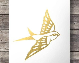 Faux gold foil swallow print  - Printable wall art  INSTANT DOWNLOAD
