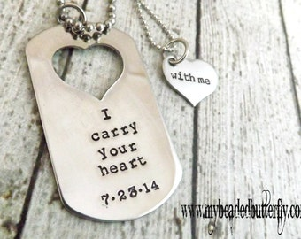 personalized necklace- couples necklace -Handstamped necklace-dog tag-heart-couples necklace-anniversary necklace-I carry your heart with me