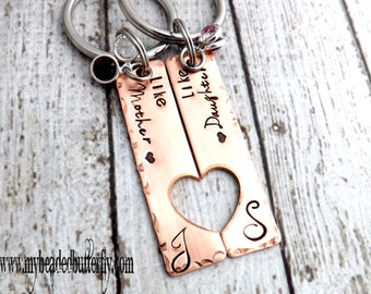mother daughter keychains-mother daughter necklace set-personalized keychain-mothers day gift-like mother like daughter-mom keychain