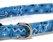 XS Dog Collar - Sky Blue Bandana - Extra Small, Teacup, Miniature - Fancy, Soft and Handmade
