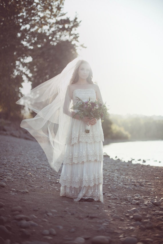 Boho Vintage Lace Wedding Dress. The Laurel Falls Gown. Cotton, Silk, Tulle.  The perfect Vintage Modern look!