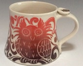 RESERVED for Alex - Favorite Mug with Owl