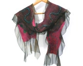 Felt Scarf Reversible 2-in-1 Mod-Style cozy cashmere-soft merino silk  -  In Stock Ready to Ship -  Marsala Pink Umber