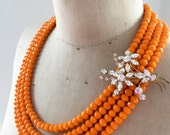 SALE Vintage Wedding Rhinestone and Crystal Statement Necklace - Tangerine Sparkles