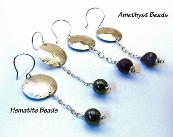 Sterling Silver Long Dangly Disc Statement Earrings with Hematite or Amethyst Gemstones - Fine Metal Rustic Artisan Woodland Jewelry