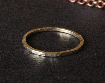 14K Green Gold Ring 1mm Wide Stacking Stackable Hammered Tiny Ring or Midi Ring 14 Karat Gold Green Alloy