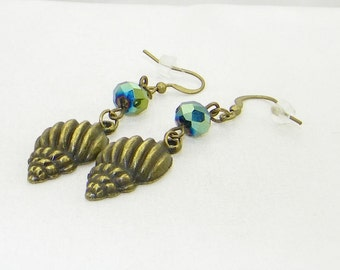 Bronze shell charms with faceted black aurora borealis glass bead dangle earrings, beach, summer, fun, jewelry