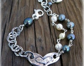Belong Together Bracelet with Large Sterling Heart Centerpiece, Pearls - Size 7 in