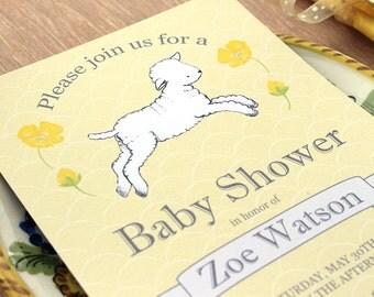 Lamb Baby Shower Invitation Baby girl Baby boy Gender Neutral yellow grey gray Digital PRINTABLE DIY