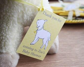 Lamb Baby Shower Tags gender neutral yellow Grey Digital PRINTABLE DIY - Lambs at Play