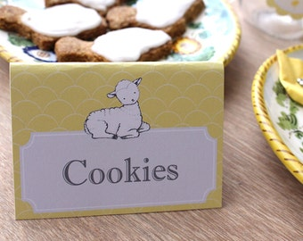 Little Lamb Food Signs - Baby Shower Food Tent - yellow and grey baby shower-Lambs at Play -