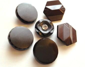 Vintage Button Lot - chocolate brown buttons, large matching buttons, vintage button destash lot, vintage sewing destash, shank buttons