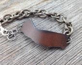 CALIFORNIA   Rustic Metal State Outline Bracelet   Adjustable   FREE SHIPPING