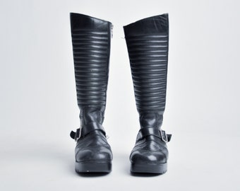 roses and teeth HARLEY DAVIDSON knee high biker boots / black leather motorcycle boots / chunky moto boots / 8.5 / 291s