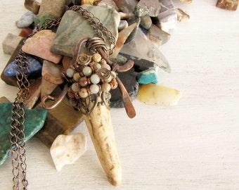 Jasper Antler Copper Wire Wrapped Handmade Jewelry Deer Antler Jewelry # 123