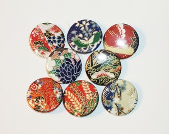 8 Origami Pin Back Buttons -1.25in
