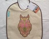 Owl baby bib - pink, woodland