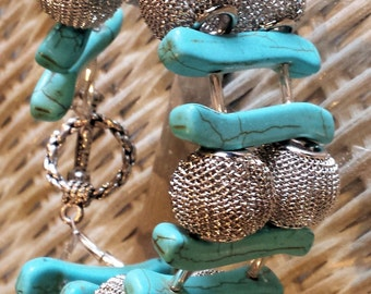 Turquoise and Mesh Bead Bracelet