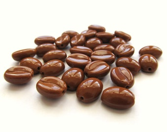 Tawny Brown Czech Glass Coffee Bean Beads, 11mm x 8mm - 30 pieces