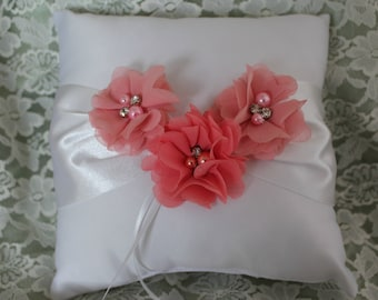 White or Cream Ring Bearer Pillow -Shades of Coral Chiffon Flowers Accented with Rhinestone and Pearls- Custom Colors Available