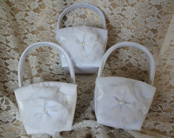 3 White Flower Girl Baskets-Custom Colors