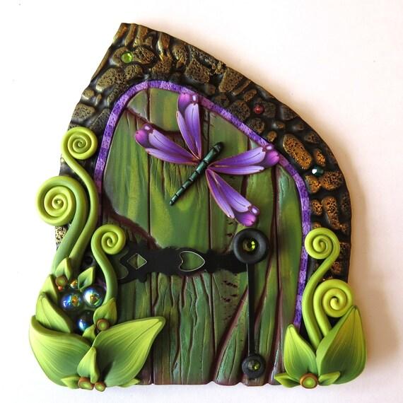 Purple dragonfly fairy door pixie portal for Purple fairy door