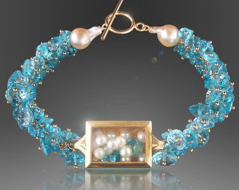 Vintage Watch Case Bracelet with Floating Pearls and Swiss Blue Topaz