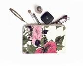 Vintage Rose Make Up Clutch, Floral print purse, cosmetics bag, travel pouch, Evening bag, Clutch purse, Clutch bag, Floral clutch, Wedding