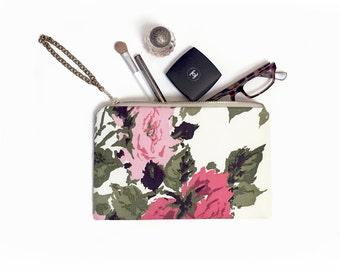 Vintage Rose Make Up Clutch, Floral print purse, cosmetics bag, travel pouch, Evening bag, Clutch purse, Clutch bag, Floral clutch, Wedding