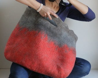 EXTRA LARGE Red Sturdy Everyday Art Bag / Carryall / Tote / Basket / Shopping / Market / Picnic / Hand felted wool / Wearable Art