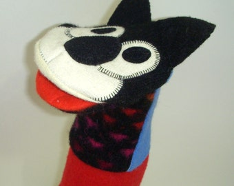 Hand puppet  kitty named Anita made of seven recycled wool sweaters