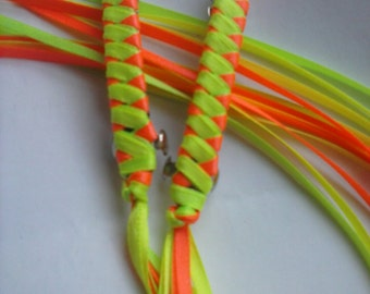 Braided Ribbon Barrettes / Set of Two in Neon Yellow / Neon Orange / Neon Green