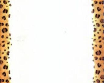 Leopard Cheetah Border GLOSSY Ivory Stationery Sheets