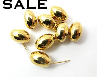 Vintage Gold Plated Metal Oval Beads (8X) (B539) SALE - 25% off