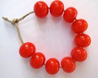Bright Orange Lampwork Beads SRA