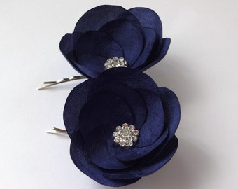 Navy Blue Silk Flowers Hair Pins, Shoe Clips