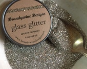 German Silver Glass Glitter 4oz Vintage Jar