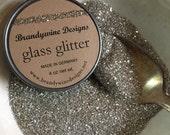 German Silver Glass Glitter 4oz Vintage Jar