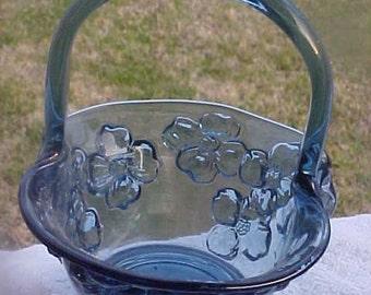 Vintage Glass Basket - Handle - Dark Blue - Floral - Dogwood - Perfect!