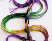 """Embroidery floss """"Mardi Gras"""" hand dyed cotton"""