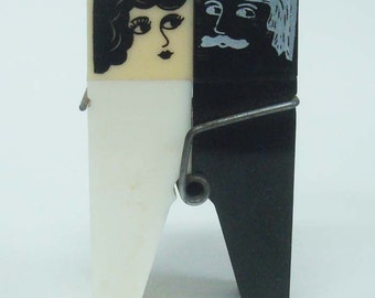 Art Deco Woman Typical Man Clothespin Salt & Pepper Shakers
