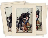 Victorian Krampus- The Christmas Demon individual holiday card (Children in Barrel)