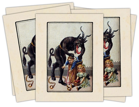 Victorian Krampus- The Christmas Demon individual holiday card